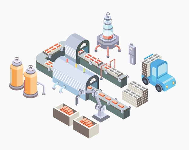 Автоматизированная производственная линия. заводской цех с конвейером и различными машинами. иллюстрация в изометрической проекции, изолированных на белом фоне.