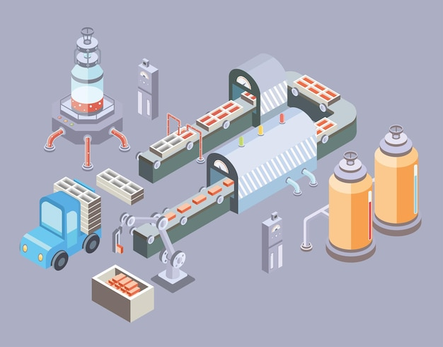 자동화 된 생산 라인. 컨베이어 및 다양한 기계가있는 공장 바닥.