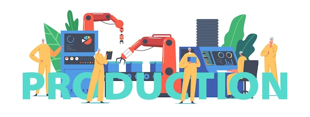 Automated production process concept. factory worker or engineer characters work on assembly line with robotic arms, high tech machinery poster, banner or flyer. cartoon people vector illustration