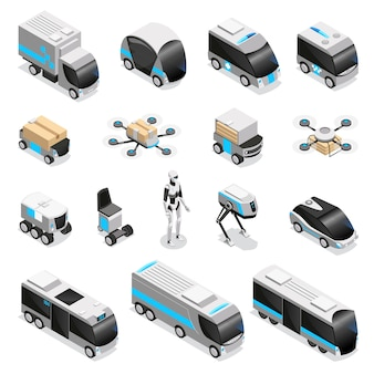 Automated robot delivery isometric icons collection with cute remote controlled humanoid quadruple drone unmanned vehicles  illustration