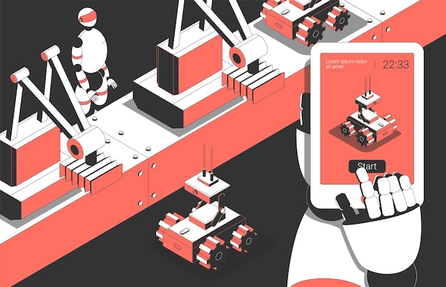 Automated robotic industrial manufacturing   assembly line with humanoid worker and  remote control robot isometric composition
