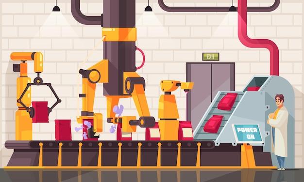 工業生産施設とマニピュレーターのラインの屋内ビューを備えた自動ロボットパッキングコンベヤー構成