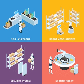 Изометрическая концепция автоматизированных магазинов с роботами самообслуживания для системы мерчендайзинга и сортировки