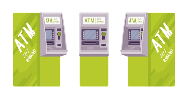 Automated teller machine in a green color set