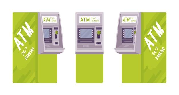 緑のカラーセットの現金自動預け払い機