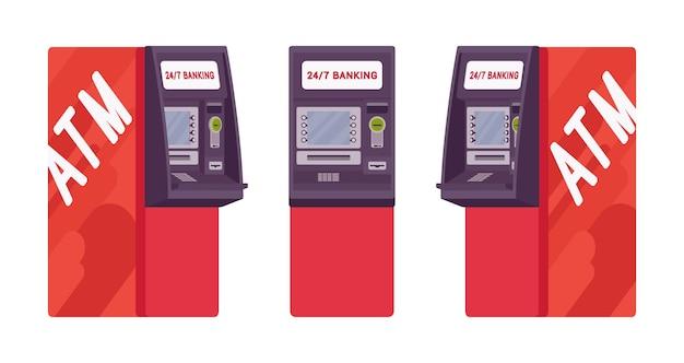 赤い色の現金自動預け払い機