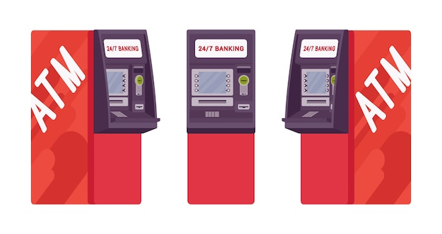 Automated teller machine in red color