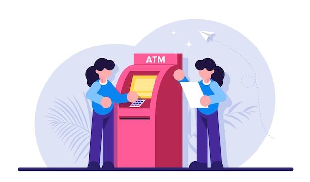 現金自動預け払い機。女性はatmを使用しています。