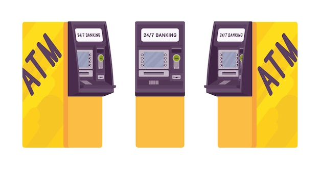 Automated teller machine in a yellow color