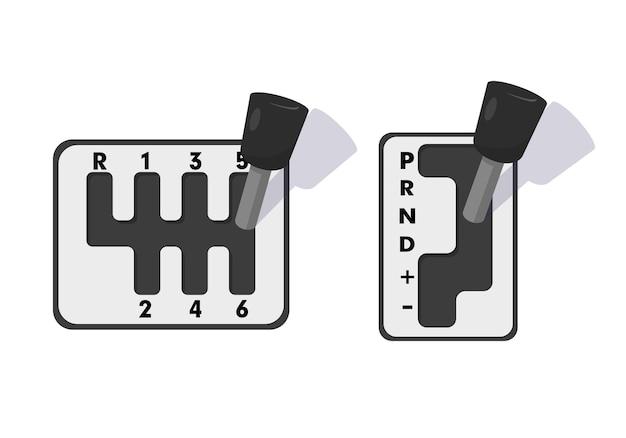 자동 및 기계식 기어 박스. 흰색 배경에 그림입니다.