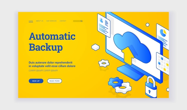Automatic backup. isometric vector illustration of computer monitor with cloud storage sign depicted on advertisement banner for automatic backup technology. web banner, landing page template