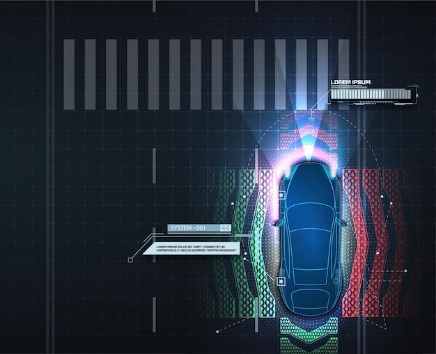 자동 제동 시스템은 자동차 사고로 인한 자동차 충돌을 방지합니다. 개념 운전자 지원 시스템. 자율 주행 차. 자율 주행 차량.