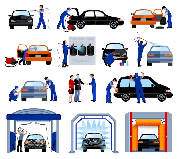 Automatic car wash service station flat pictograms set