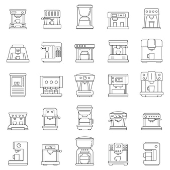 Automatic coffee machine icons set, outline style