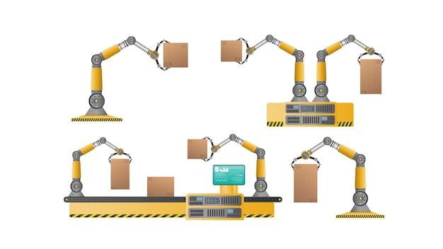 로봇 팔이 있는 자동 컨베이어 라인. 자동 작동. 상자가 있는 산업용 로봇 팔. 현대 산업 기술입니다. 제조 기업용 기기.