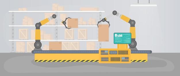 로봇 팔이 있는 자동 컨베이어 라인. 상자와 팔레트가 있는 생산 창고.