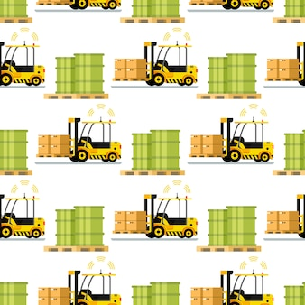 Automatic delivery forklift car seamless pattern