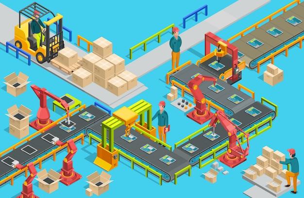 컨베이어 라인과 로봇 팔을 갖춘 자동 공장. 조립 과정. 삽화