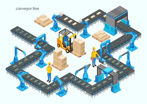 컨베이어 라인과 로봇 팔이있는 자동 공장. 조립 과정.