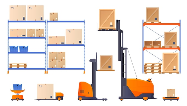 自動フォークリフト車の運転貨物と商品。