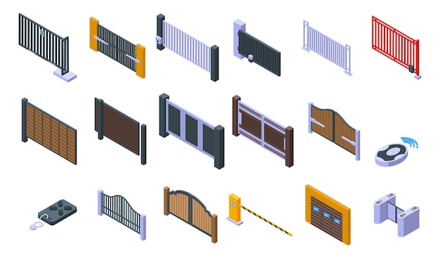 Automatic gate icons set. isometric set of automatic gate vector icons for web design isolated on white background