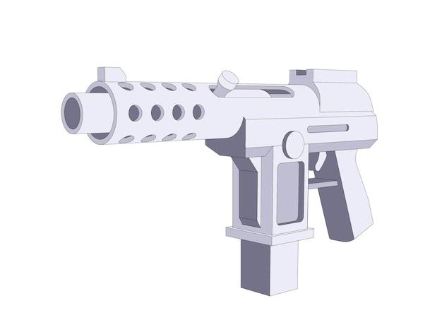 Автоматический пистолет, мультяшный стиль