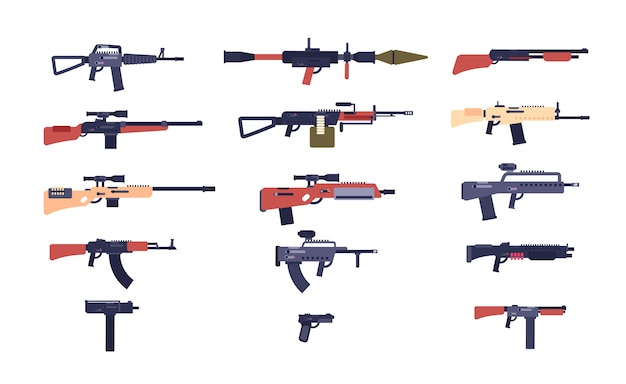 Automatic guns. battle game weapons. pistol, shotgun and launcher, rifles. cartoon vector gun collection
