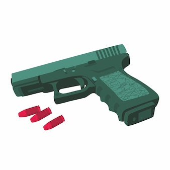 Automatic hand gun and bullets vector