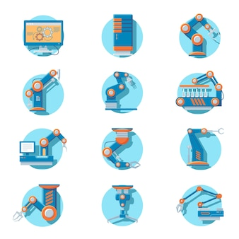 Automatic industrial robot icons set