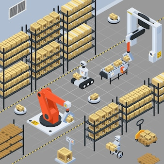 Automatic logistics  delivery isometric composition