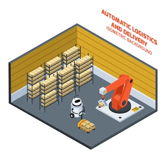 Automatic logistics and delivery isometric composition