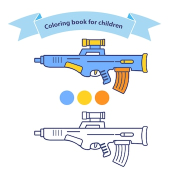 Automatic rifle in coloring book for children