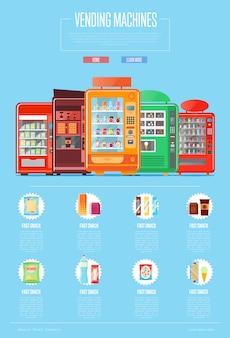 Automatic vending machine set in flat design
