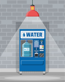 Automatic vending machine with clean drinking water. big plastic bottle with pure water.