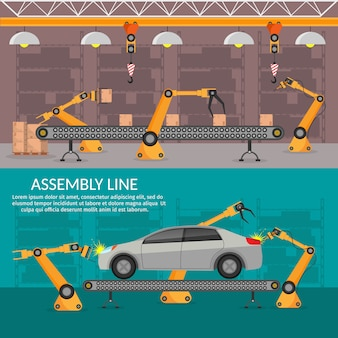 Automation abstract robotic assembly line car set flat isolated  illustration