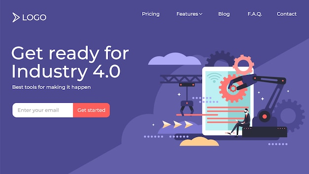 Automation flat tiny person vector illustration landing page template design