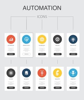 自動化インフォグラフィック10ステップuiデザイン。生産性、テクノロジー、プロセス、アルゴリズムのシンプルなアイコン