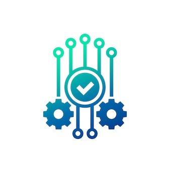 Automation and optimization icon with checkmark and gears
