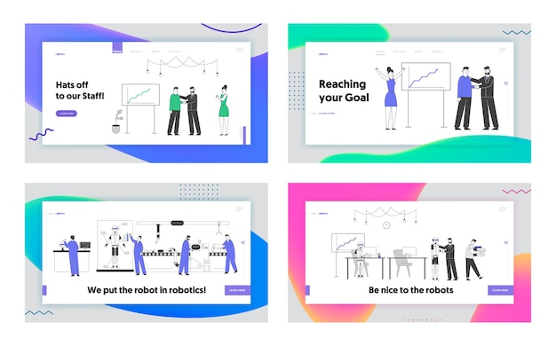 Automation, people and robots working in office website landing page set.
