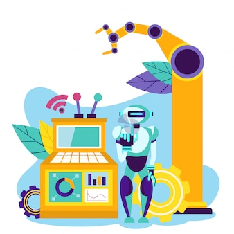 Automation production. robot control. vector.