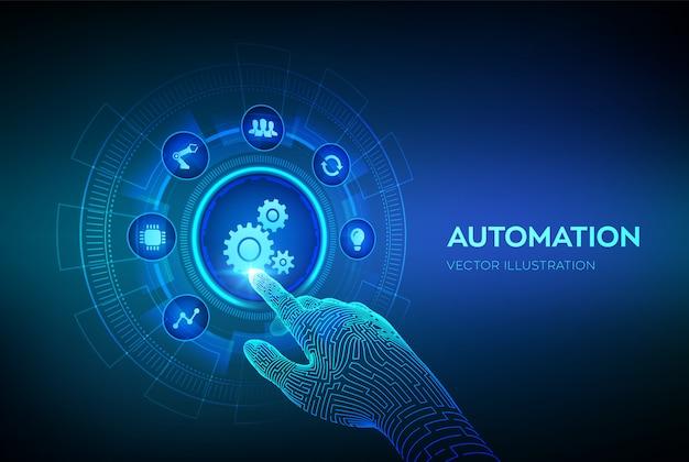 自動化ソフトウェア。仮想画面上のiotおよび自動化の概念。デジタルインターフェイスに触れるロボットハンド。