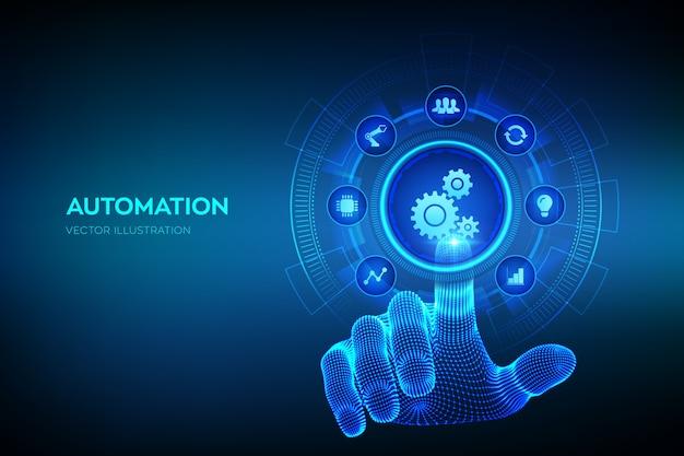 自動化ソフトウェア。 iotと自動化の概念。デジタルインターフェースに触れるワイヤーフレームの手。