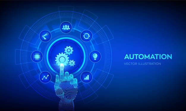 Automation software. iot and automation technology concept. robotic hand touching digital interface.