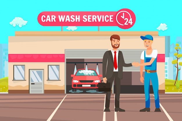 Automobile cleaning service cartoon illustration