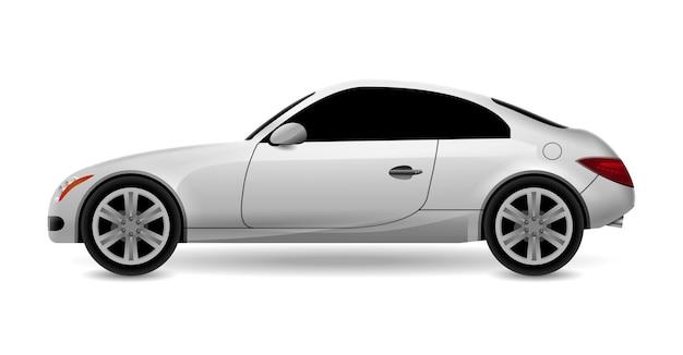 자동차 쿠페 절연 프로필 측면보기. 럭셔리 현대 세단 수송 자동차 자동차. 측면보기 자동차 디자인 일러스트입니다.
