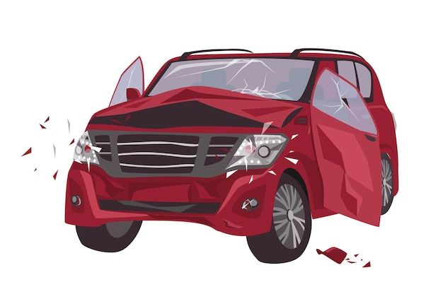 Automobile damaged by collision isolated. wrecked or crashed auto