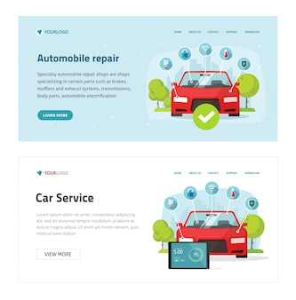 Automobile diagnostic or car test service web site template ,  cartoon vehicle and electronic diagnostics tools landing page banner, workshop or repair maintenance station modern