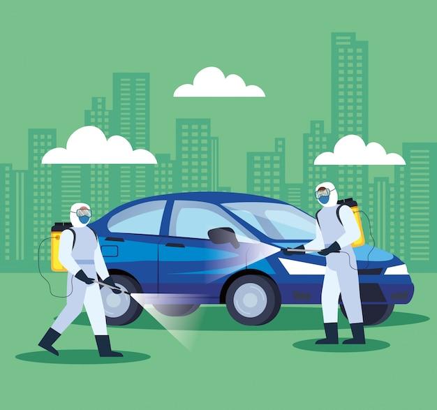 Услуги по дезинфекции автомобилей для дизайна иллюстрации болезни 19