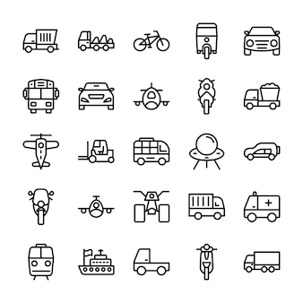 Automobile line icons