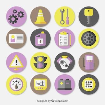 Automobile mechanic icons